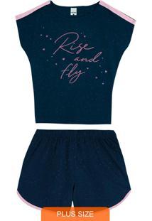 Pijama Azul Marinho Feminino Rise And Fly Plus