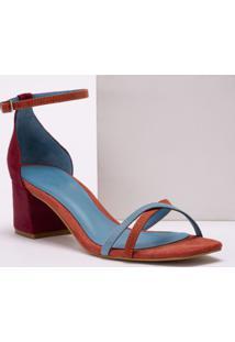 Sandália Multicolor Salto Grosso