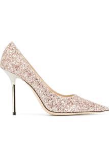ca5b19688 Farfetch. Sapato Bico Fino Com Salto Feminino Glitter Couro Jimmy Choo Fag  Amor Metálico -