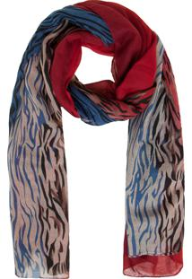 Lenço Fiveblu Tigrado Vermelho/Azul 88X178Cm