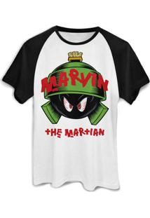 Camiseta Bandup! Raglan Marvin The Martian - Masculino-Branco+Preto