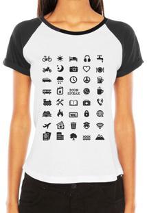 Camiseta Raglan Criativa Urbana Viajante 40 Icon Speak - Feminino-Branco