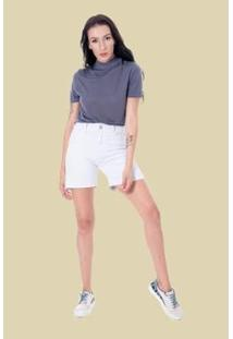 Bermuda Sisal Jeans Meia Coxa Feminina - Feminino-Branco
