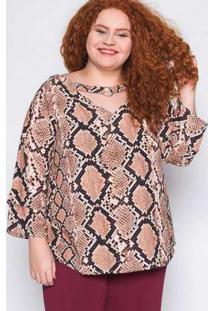 Blusa Plus Size Estampada Marrom Marrom
