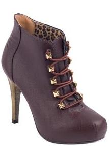 32decc57a5f ... Bota Feminina Ankle Boots Cadarço Em Elastico Miucha - 33 - Café