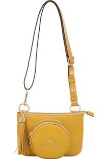 Bolsa Pochete Couro - Feminino-Amarelo