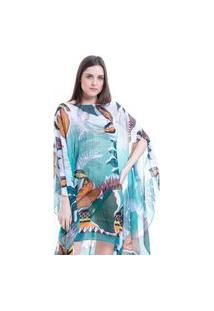 Kaftan 101 Resort Wear Vestido Plus Size Crepe Estampado Folhas Verdes