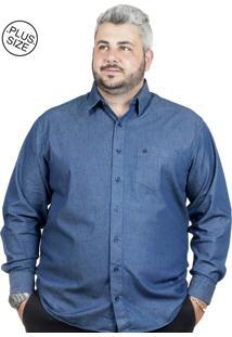 Camisa Plus Size Bigshirts Manga Longa Jeans Azul