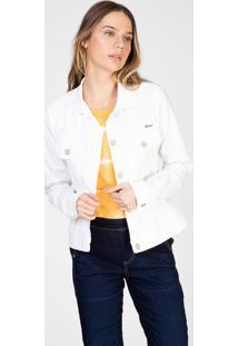 Jaqueta Color Bloom Em Sarja Com Elastano Branca