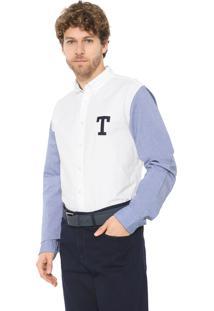 Camisa Tommy Hilfiger Reta Oxford Branca/Azul