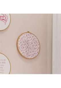 Quadro Bastidor Estampado Floral - Princesinha Grão De Gente Rosa