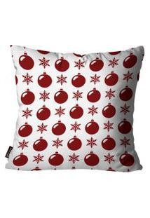 Capa Para Almofada Mdecore Natal Bolas De Natal Vermelha 45X45Cm
