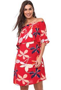 Vestido Mercatto Curto Floral Vermelho