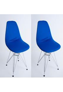 Kit Com 02 Capas Para Cadeira Base Madeira Eiffel Wood Azul - Kanui