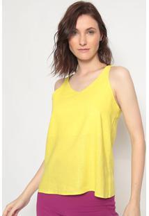 Blusa Em Linho Com Vazado- Amarela- Linho Finolinho Fino