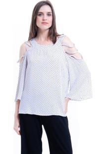 Blusa 101 Resort Wear Tunica Crepe Ombros Vazados Bolinhas Branco Preto