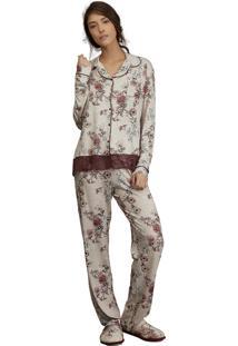 Pijama Aberto Backyard Lua Luá - Bege E Bordô