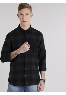 Camisa Masculina Xadrez Em Flanela Com Bolso Manga Longa Verde Escuro