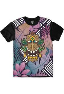 Camiseta Long Beach Totem Floral Alquimista Sublimada Colors Masculina - Masculino-Preto