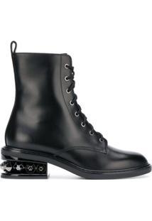 Nicholas Kirkwood Ankle Boot De Couro Com Cadarço - Preto