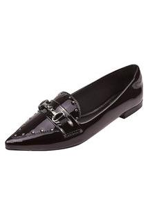 Sapatilha Uzze Sapatos Bico Fino Tacha Preta