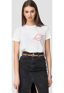 Camiseta Basica Joss Planet Red Branca - Kanui