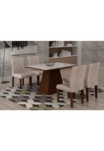 Conjunto De Mesa De Jantar Luna Com Vidro E 4 Cadeiras Ane I Suede Amassado Castor E Branco