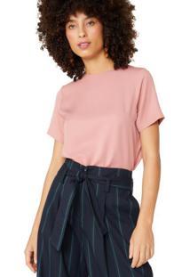 Amaro Feminino Camiseta Tencel Básica, Rosa Claro