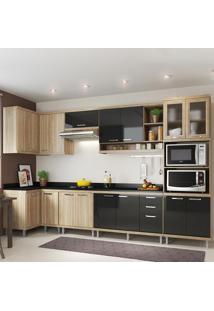 Cozinha Completa 15 Portas 3 Gavetas Com Tampo Sicilia 5831 Premium Argila/Preto - Multimóveis