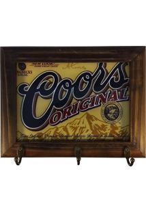 Porta Chaves Retrô Cerveja Coors - Madeira - 3 Ganchos
