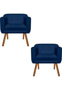 Kit 02 Poltrona Decorativa Julia Suede Azul Marinho - D'Rossi