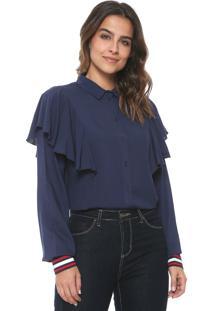 Camisa Colcci Babados Azul