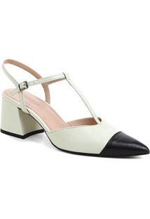 Scarpin Couro Shoestock Salomé Bicolor Salto Médio - Feminino-Verde Claro