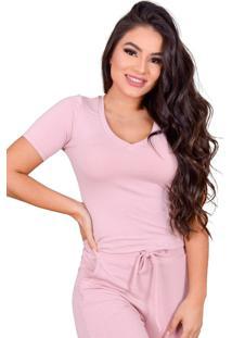 Blusa Miss Misses Moletinho Com Decote V Rosa - Rosa - Feminino - Dafiti