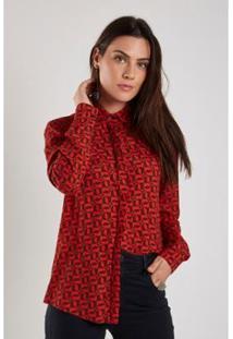 Camisa Sacada Est Flecha Maxi Feminina - Feminino-Vermelho Escuro