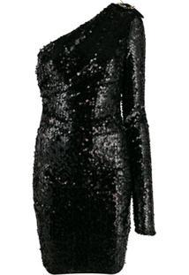 Versace Jeans Couture Vestido Ombro Único Com Paetês - Preto