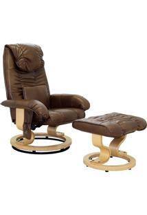 Poltrona De Massagem Grenaa Elétrica Reclinável Giratória Pu Marrom Vintage - Gran Belo