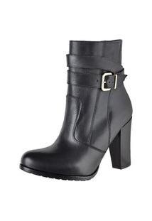Bota Ankle Boot Feminina Cano Curto Salto Alto Preto