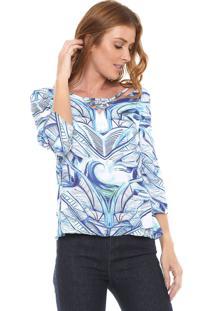 Blusa Enfim Estampada Branca/Azul