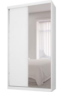 Guarda-Roupa Solteiro Com Espelho Virtual 2Pt Branco Maderado