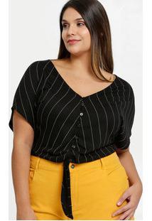 Blusa Feminina Cropped Listrada Plus Size Marisa