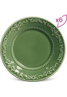 Jogo De Pratos Para Sobremesa Acanthus- Verde- 6Pçs