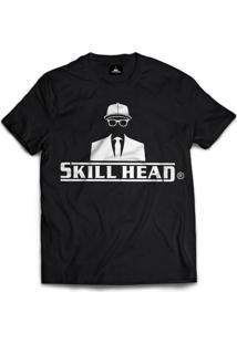 Camiseta Skill Head Logotipo Preto