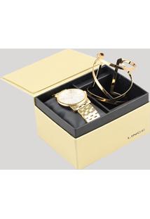 Kit De Relógio Analógico Lince Feminino + Bracelete - Lrg4513L Ku67S1Kx Dourado - Único