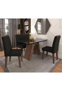 Conjunto De Mesa Clara Para Sala De Jantar Com 4 Cadeiras Taís Moldura -Cimol - Marrocos / Preto / Sued Preto