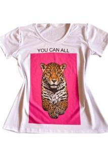 Camiseta Leopardo Feminina - Feminino-Branco
