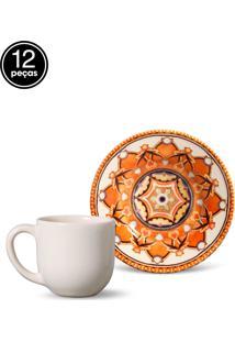 Conjunto 12Pçs Xícaras De Café Porto Brasil Mônaco Arabian Branco
