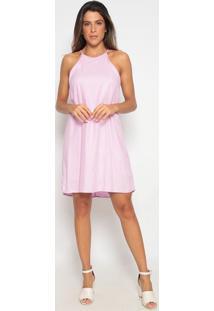 Vestido Liso Com Vazado- Lilás- Heringhering