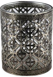 Castiçal De Vidro E Metal Decorando Com Classe Prata 8Cm Prata Velha
