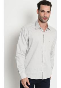 Camisa Confort Fit Maquinetada Com Bolso- Cinza Claro